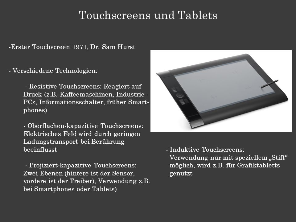 Touchscreens und Tablets