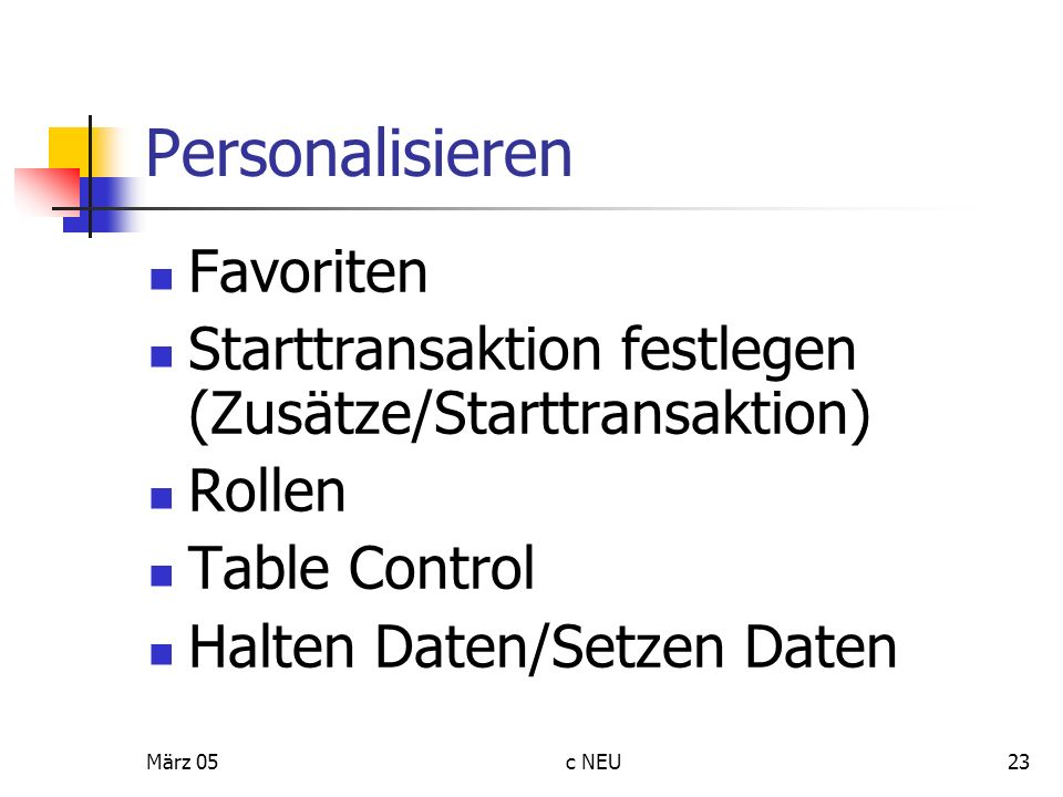 Personalisieren Favoriten