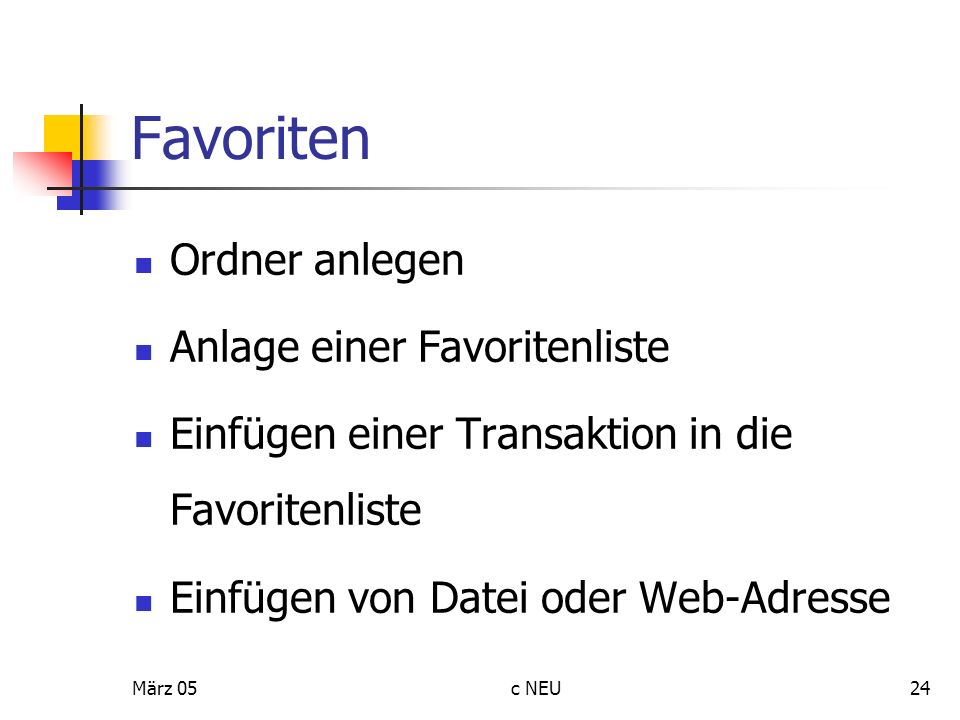 Favoriten Ordner anlegen Anlage einer Favoritenliste