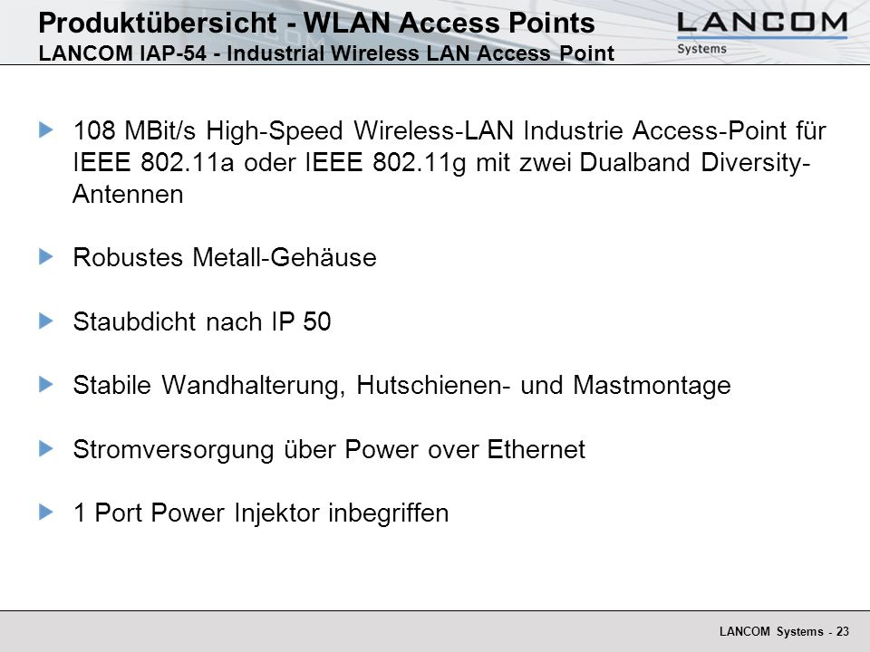 Produktübersicht - WLAN Access Points LANCOM IAP-54 - Industrial Wireless LAN Access Point