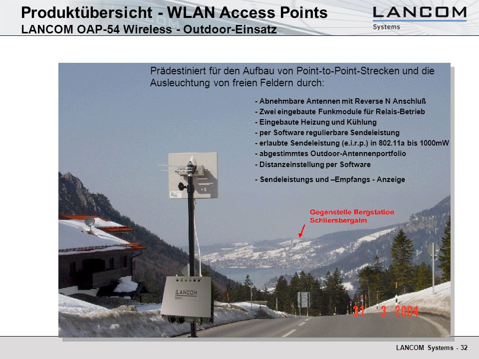 Produktübersicht - WLAN Access Points LANCOM OAP-54 Wireless - Outdoor-Einsatz