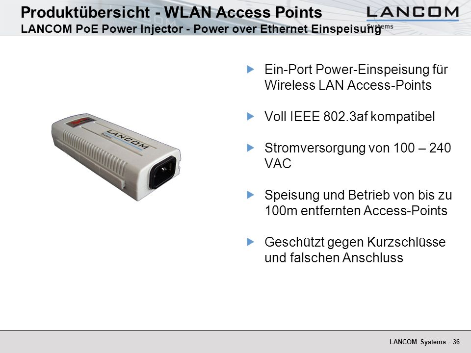 Produktübersicht - WLAN Access Points LANCOM PoE Power Injector - Power over Ethernet Einspeisung