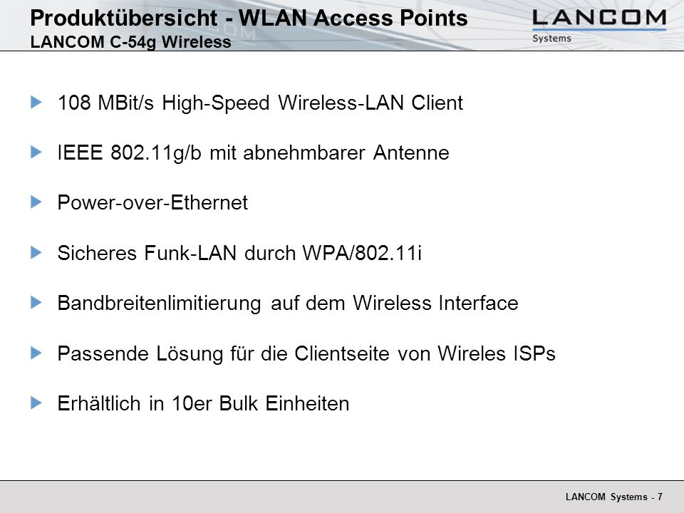 Produktübersicht - WLAN Access Points LANCOM C-54g Wireless