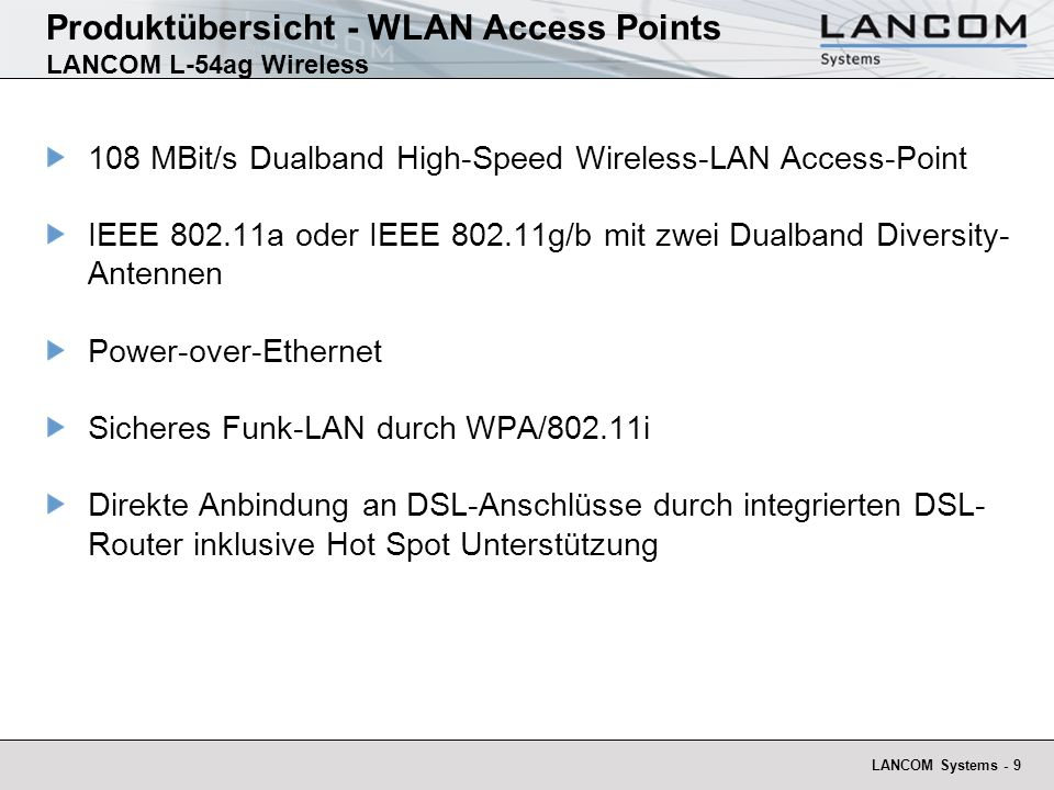 Produktübersicht - WLAN Access Points LANCOM L-54ag Wireless