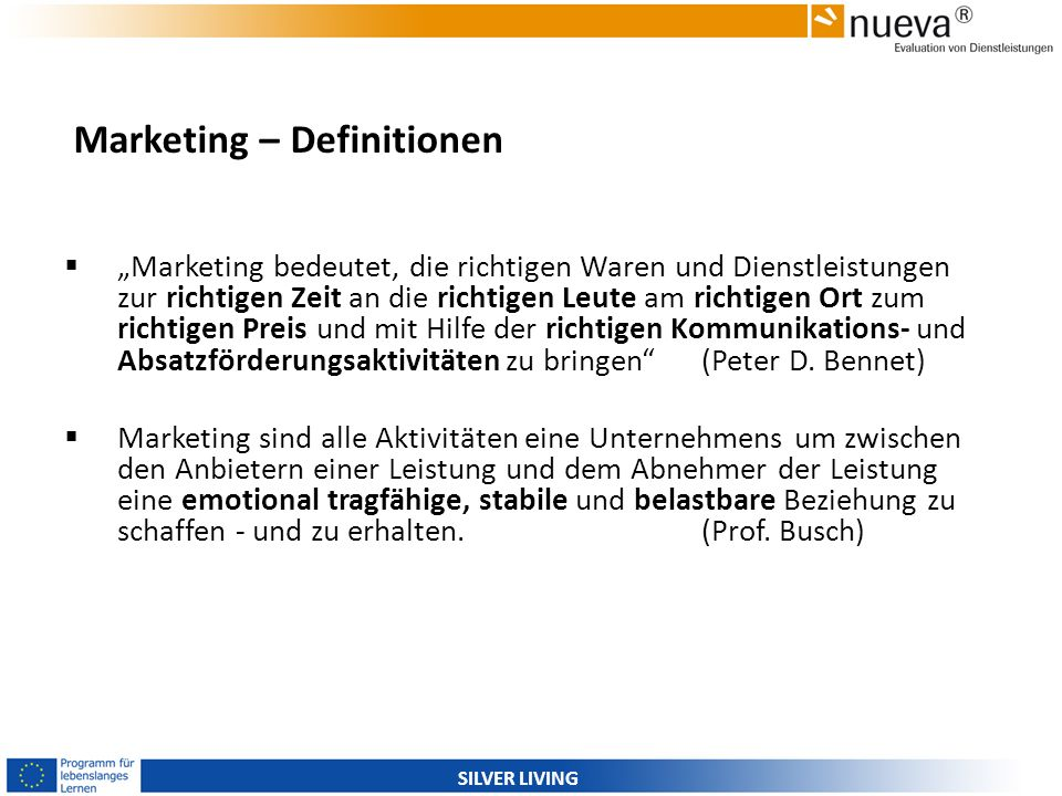 Marketing – Definitionen