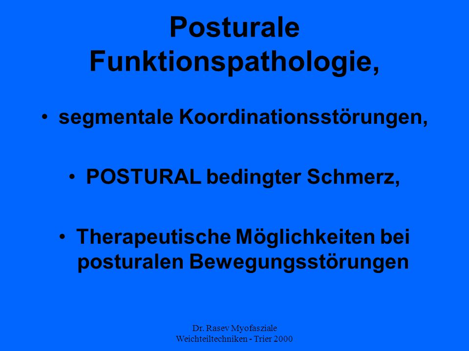 Posturale Funktionspathologie,