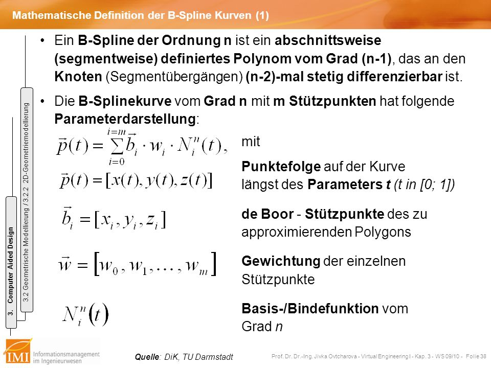 Mathematische Definition der B-Spline Kurven (1)