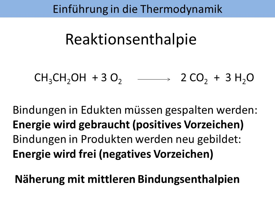 Reaktionsenthalpie CH3CH2OH + 3 O2 2 CO2 + 3 H2O
