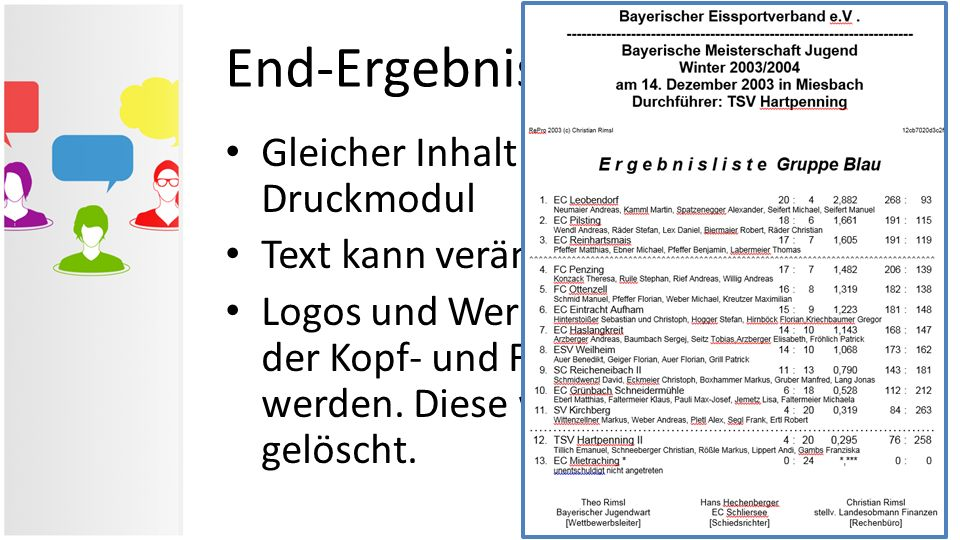 End-Ergebnisliste in Word
