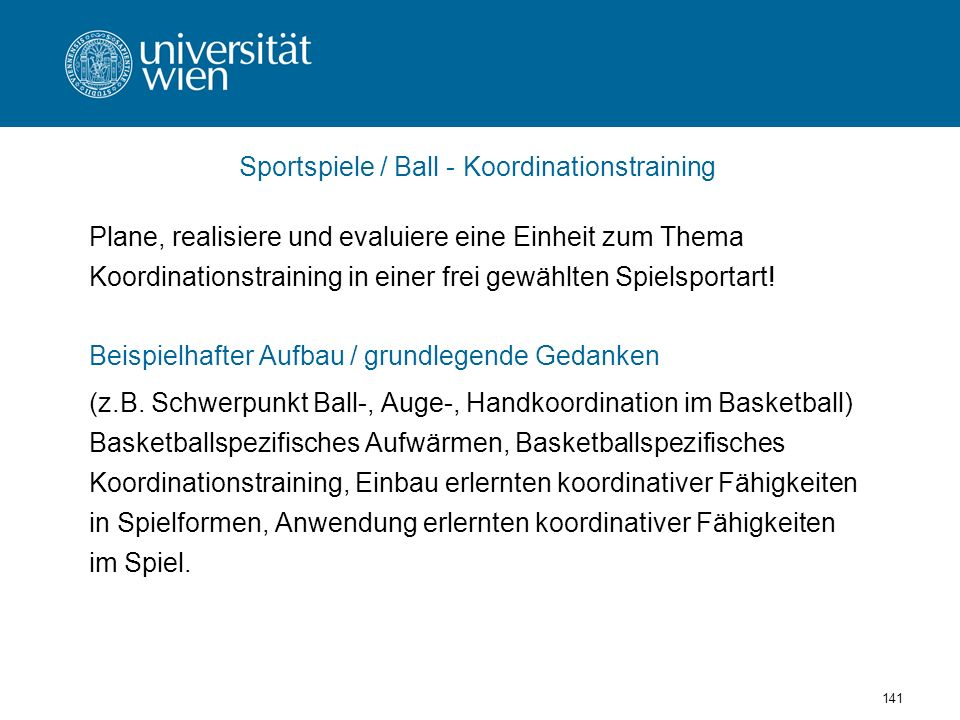 Sportspiele / Ball - Koordinationstraining