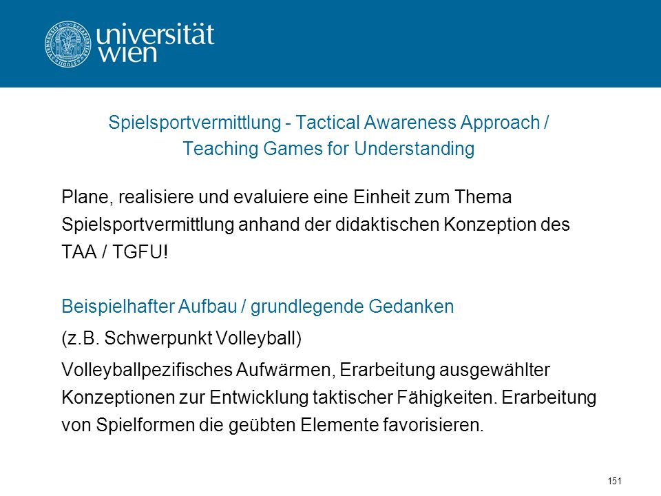 Spielsportvermittlung - Tactical Awareness Approach /