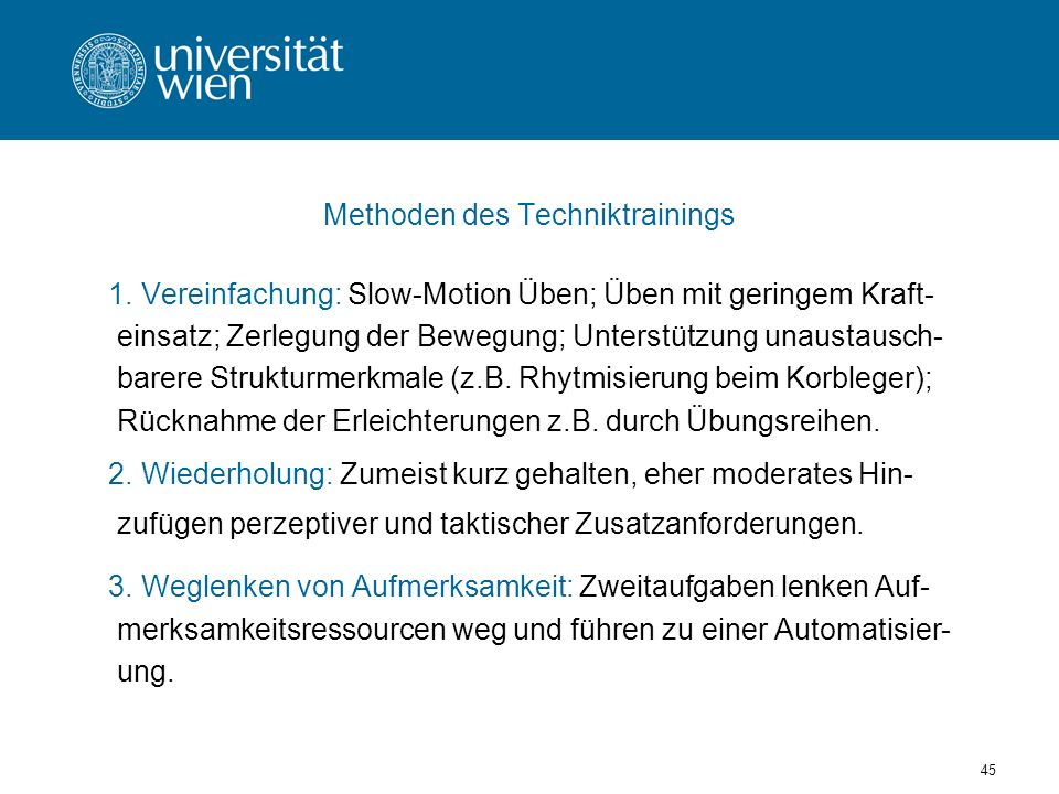 Methoden des Techniktrainings