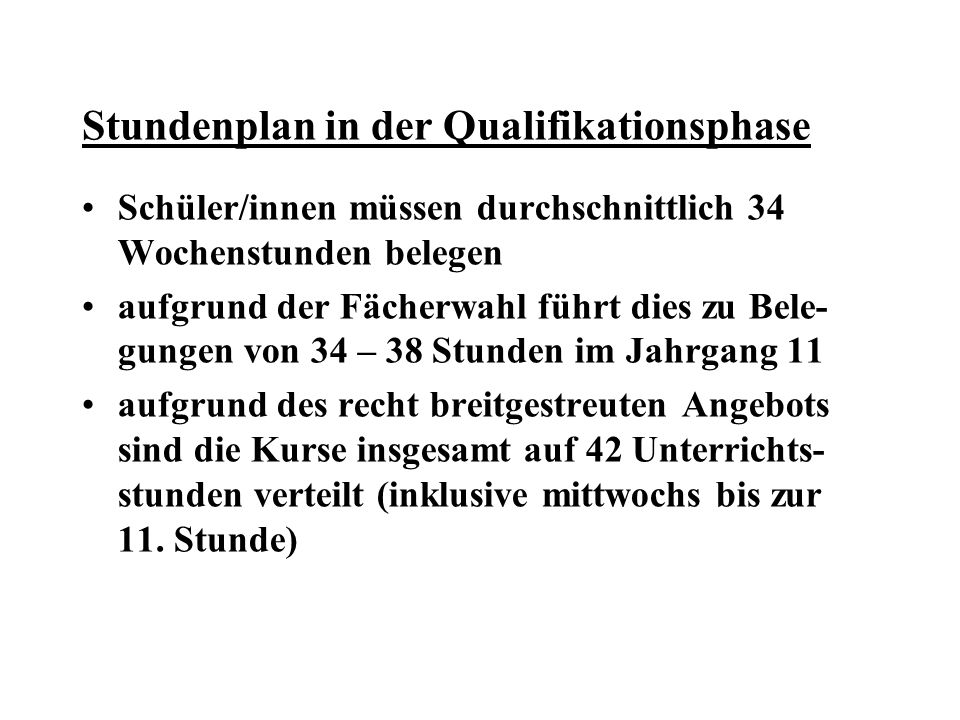 Stundenplan in der Qualifikationsphase
