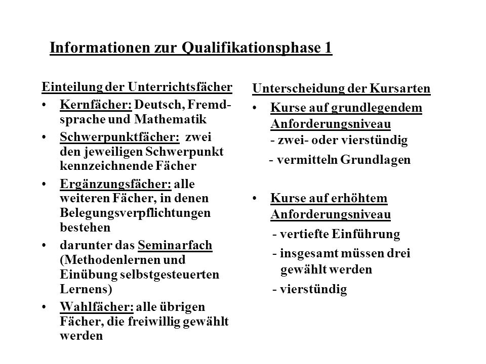 Informationen zur Qualifikationsphase 1