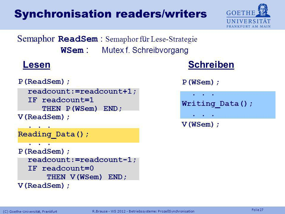 Synchronisation readers/writers