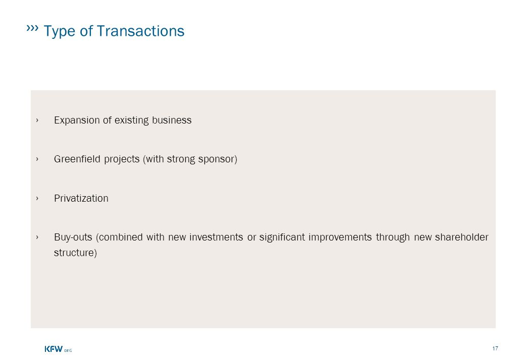 Type of Transactions Expansion of existing business
