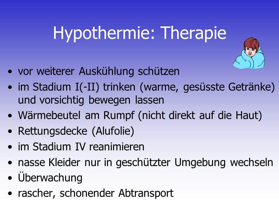 Hypothermie: Therapie
