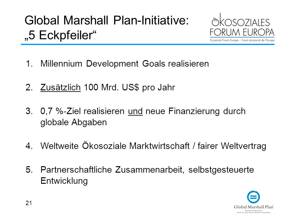 "Global Marshall Plan-Initiative: ""5 Eckpfeiler"