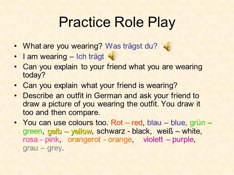 Practice Role Play What are you wearing Was trägst du
