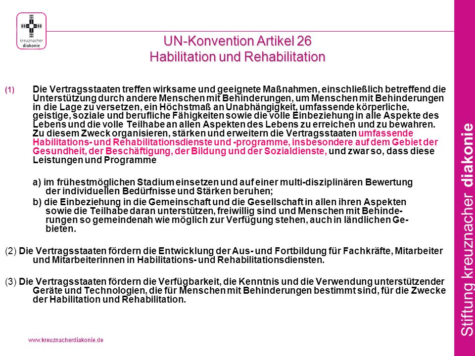 UN-Konvention Artikel 26 Habilitation und Rehabilitation