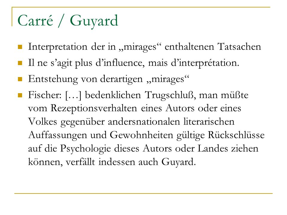"Carré / Guyard Interpretation der in ""mirages enthaltenen Tatsachen"