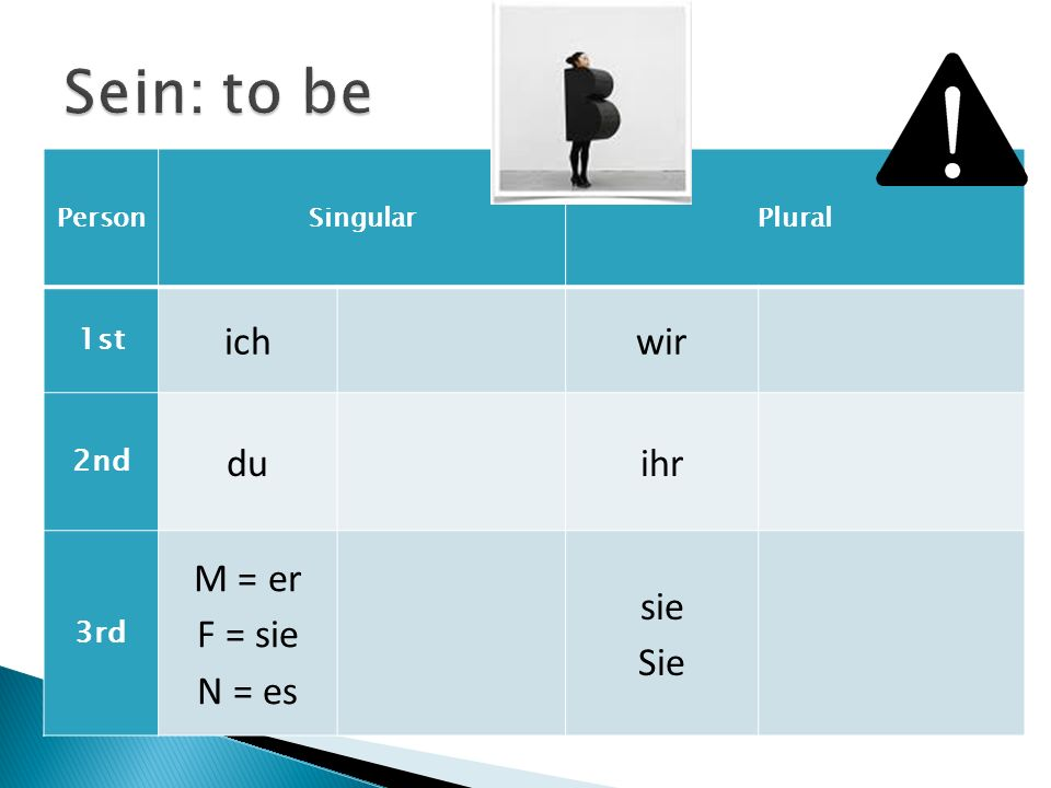 Sein: to be ich wir du ihr M = er F = sie N = es sie Sie 1st 2nd 3rd