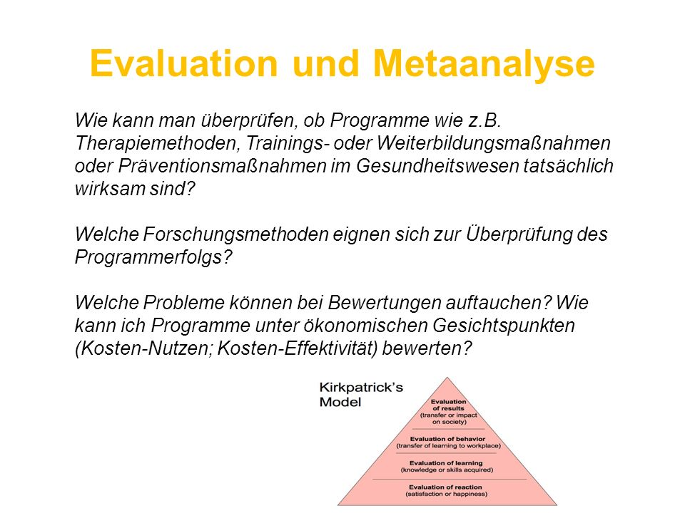 Evaluation und Metaanalyse