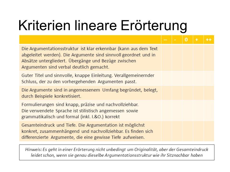 kriterien lineare errterung - Lineare Erorterung Beispiel Klasse 8