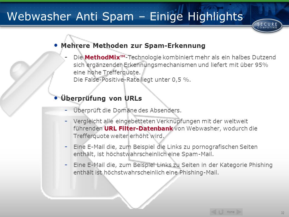 Webwasher Anti Spam – Einige Highlights