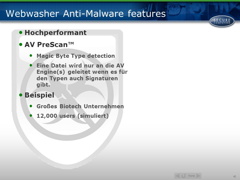 Webwasher Anti-Malware features