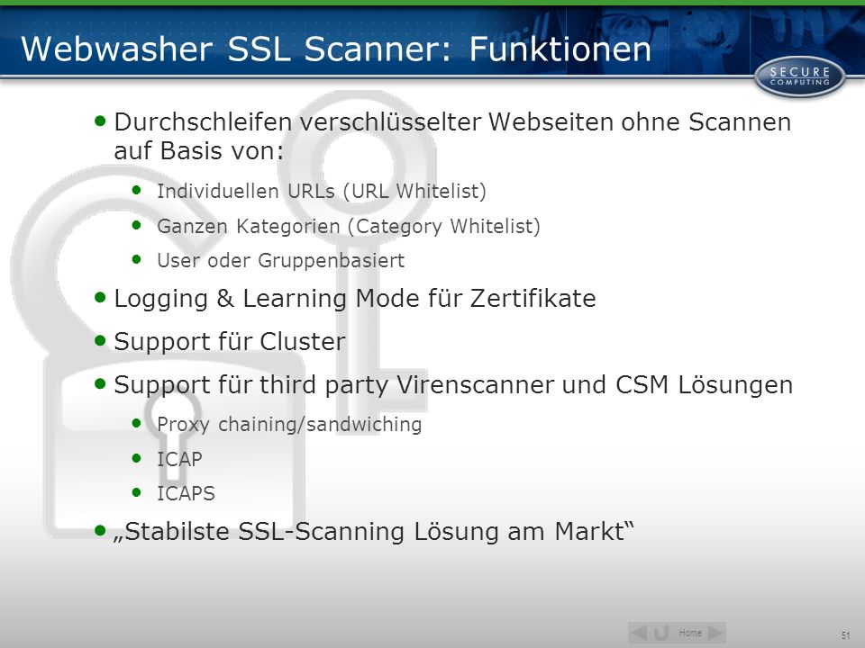 Webwasher SSL Scanner: Funktionen