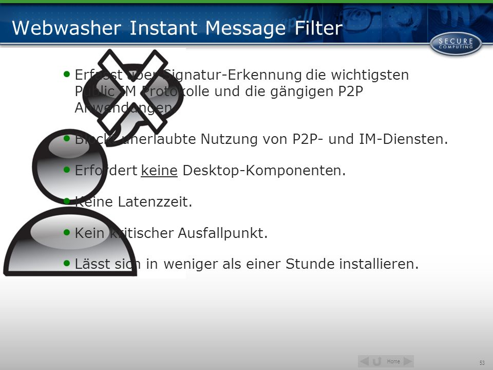 Webwasher Instant Message Filter