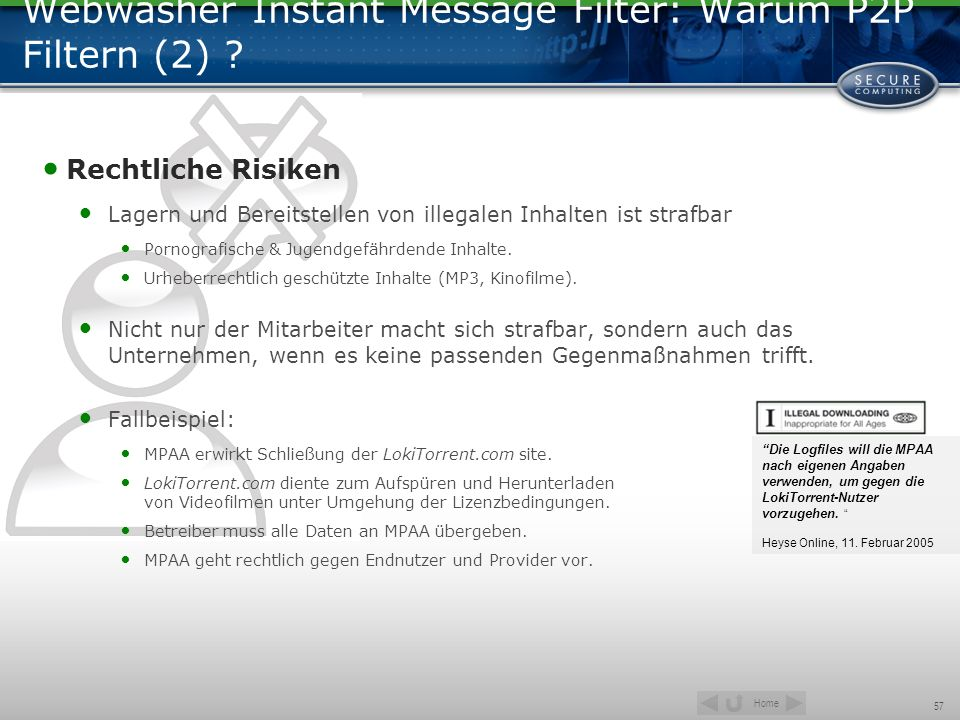 Webwasher Instant Message Filter: Warum P2P Filtern (2)