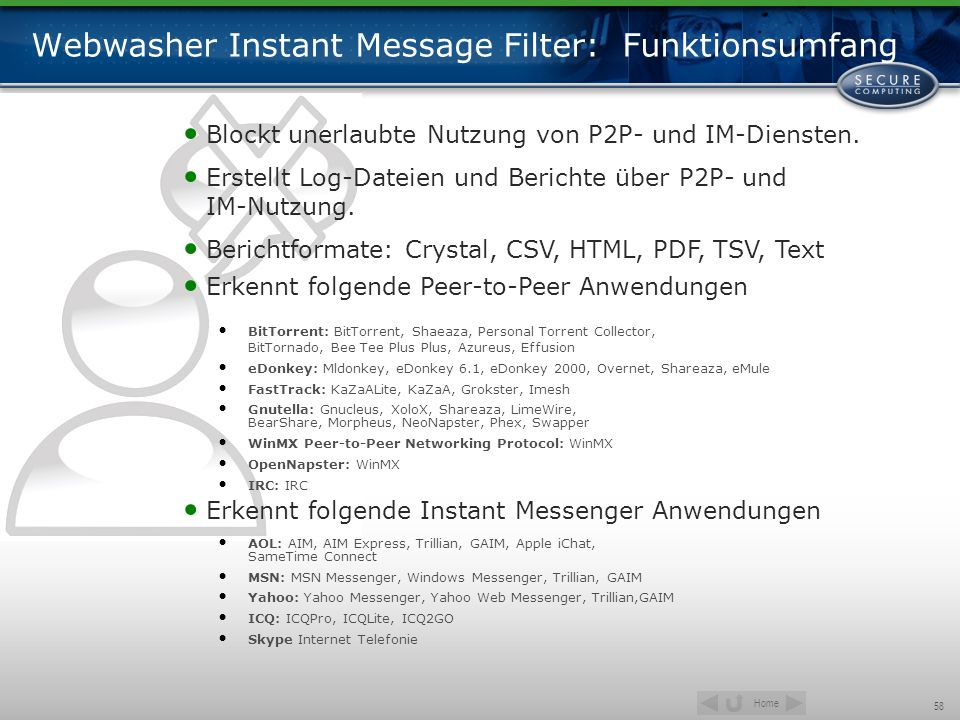 Webwasher Instant Message Filter: Funktionsumfang