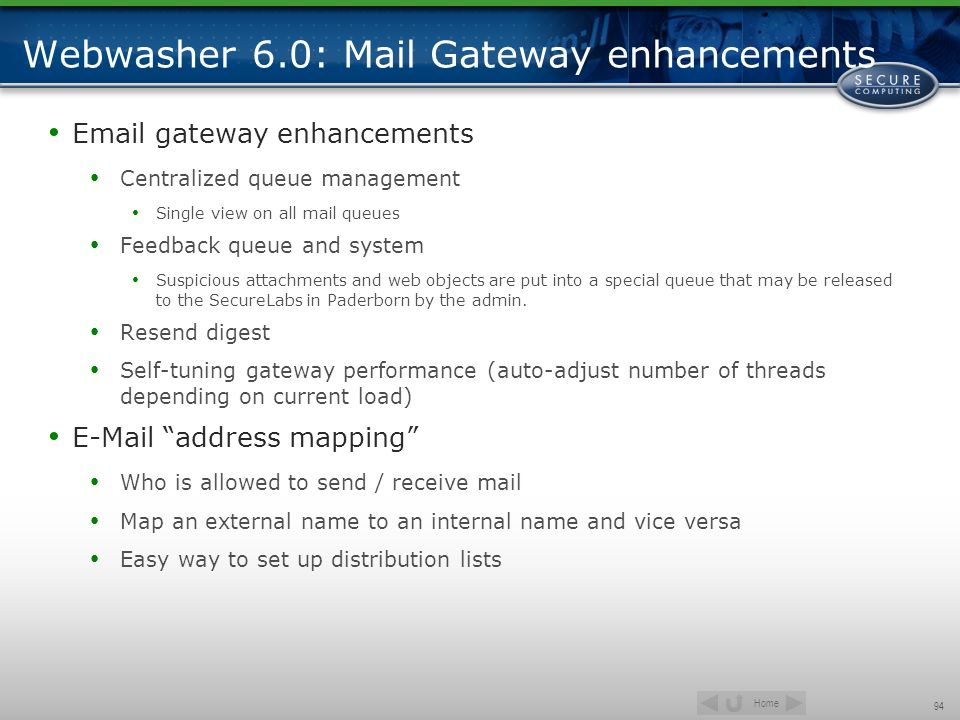 Webwasher 6.0: Mail Gateway enhancements