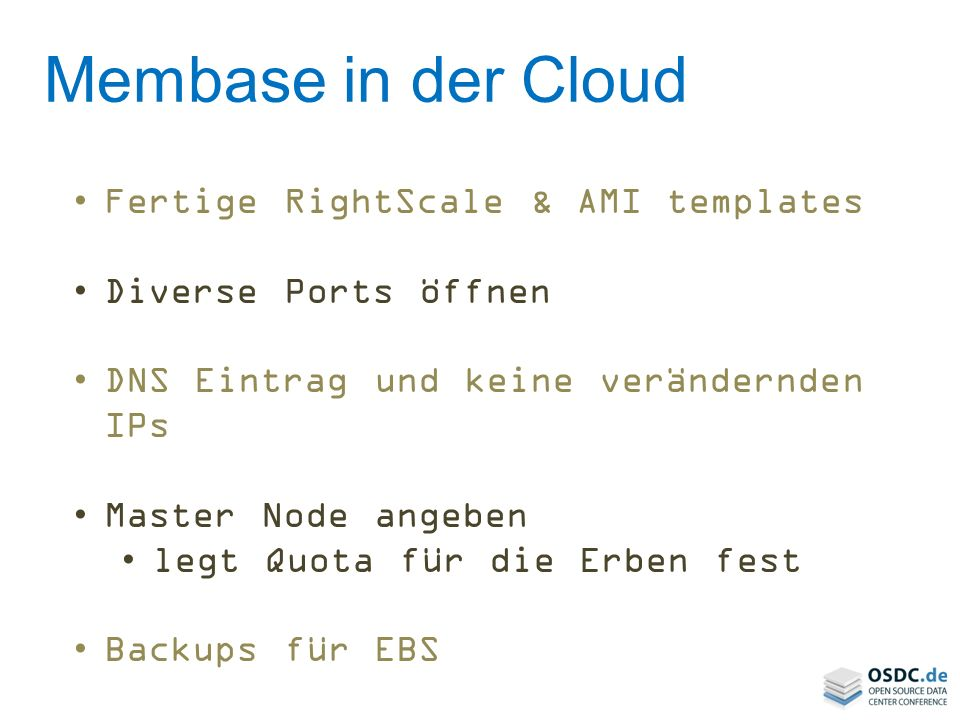 Membase in der Cloud Fertige RightScale & AMI templates