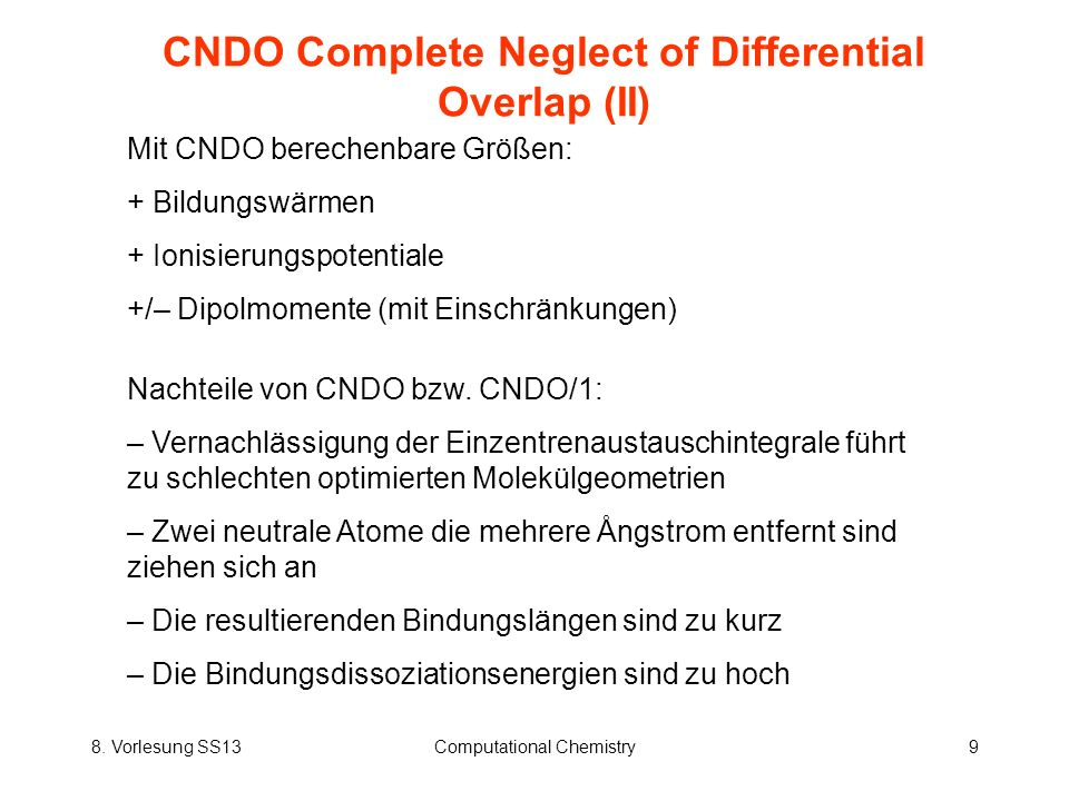 CNDO Complete Neglect of Differential Overlap (II)