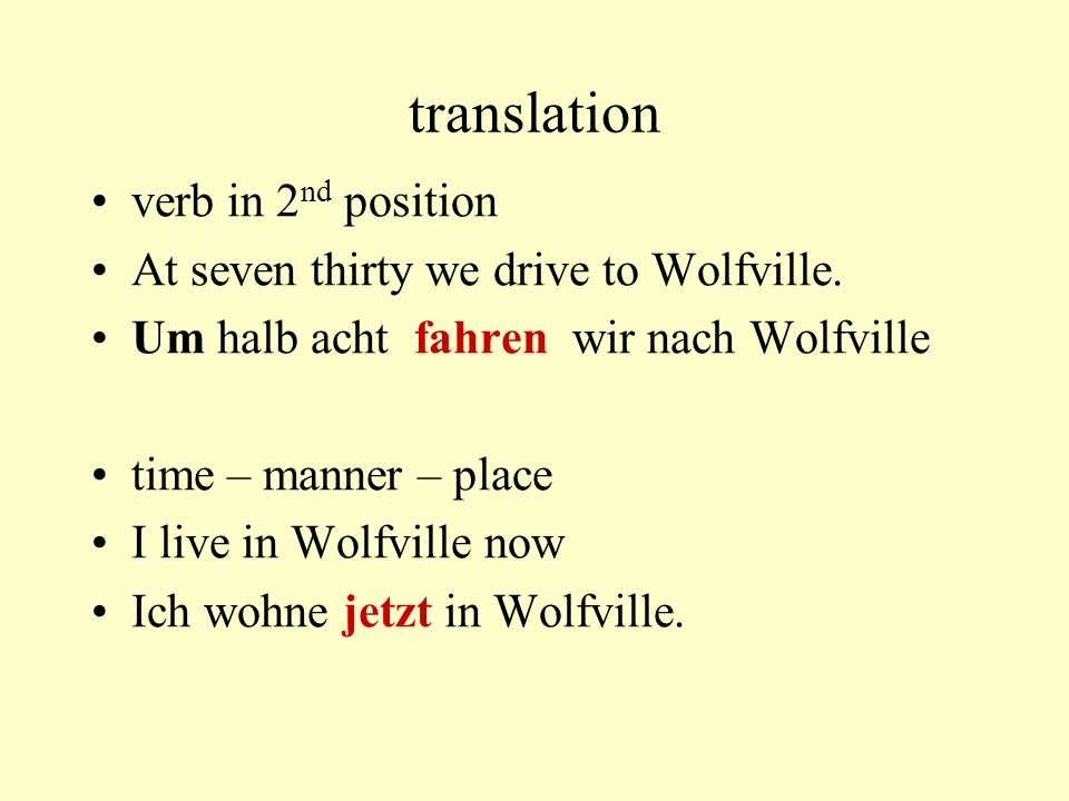translation verb in 2nd position