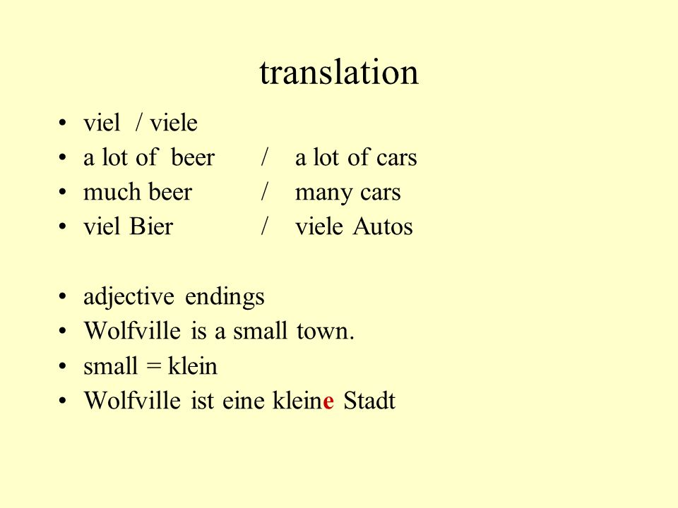 translation viel / viele a lot of beer / a lot of cars
