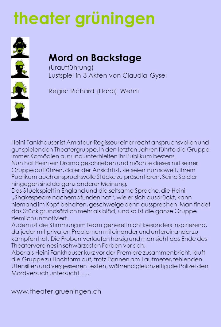 theater grüningen Mord on Backstage (Uraufführung)