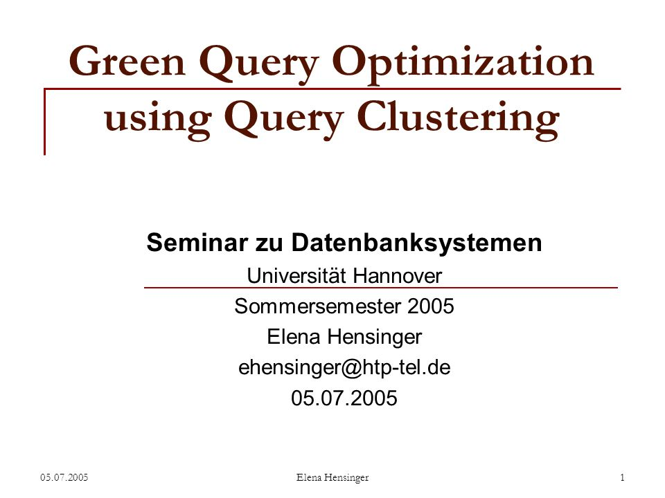 Green Query Optimization using Query Clustering