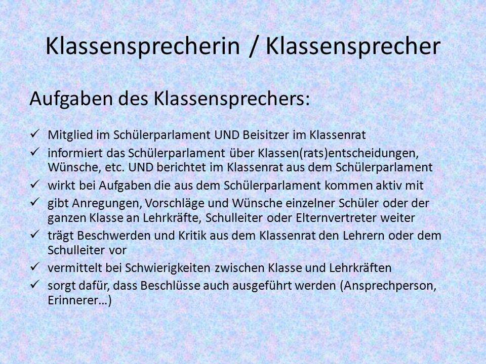 Klassensprecherin / Klassensprecher