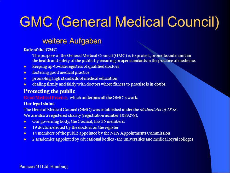 GMC (General Medical Council) weitere Aufgaben