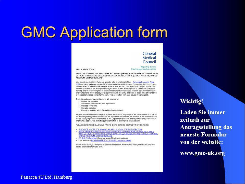 GMC Application form Wichtig!