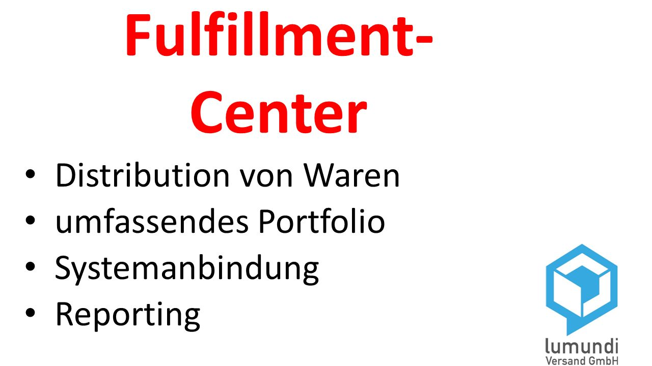 Fulfillment- Center Distribution von Waren umfassendes Portfolio