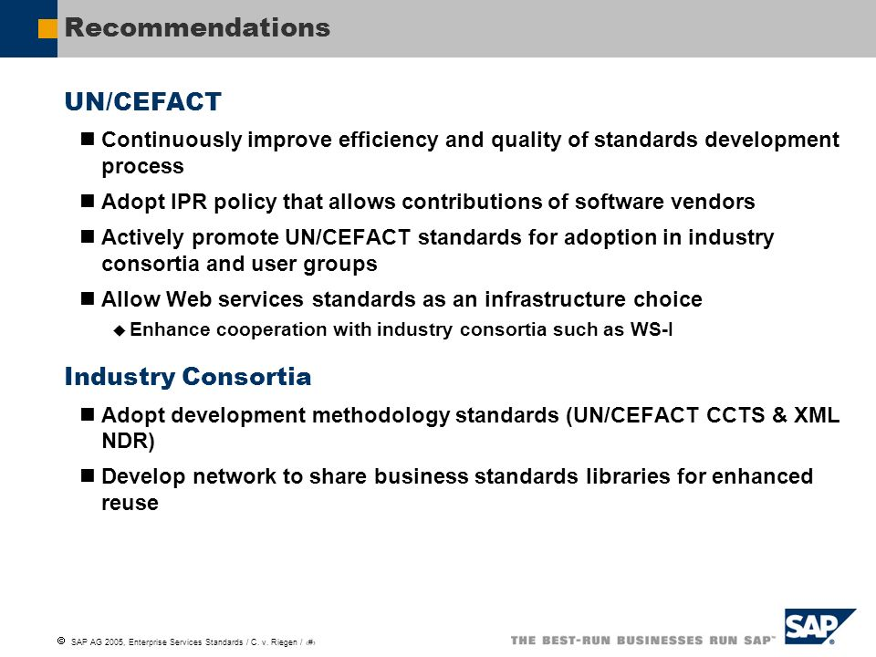 Recommendations UN/CEFACT Industry Consortia