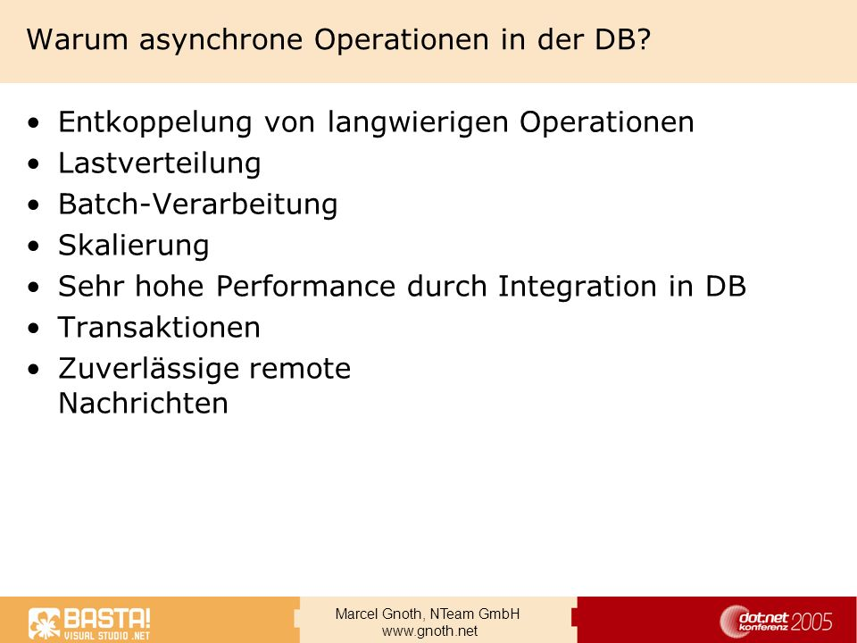 Warum asynchrone Operationen in der DB