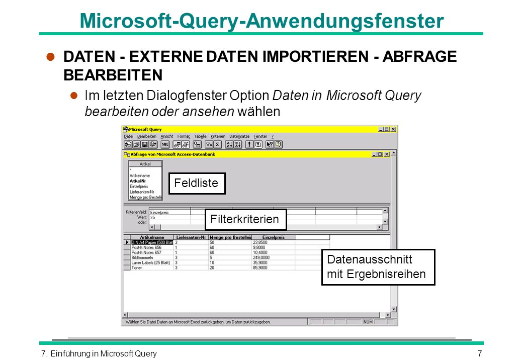 Microsoft-Query-Anwendungsfenster