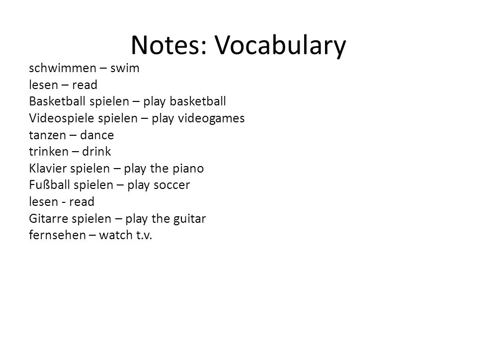 Notes: Vocabulary