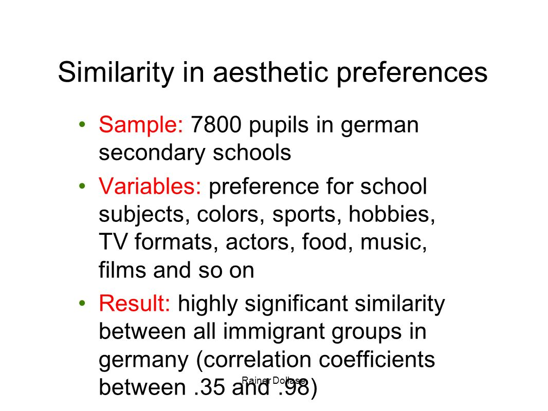 Similarity in aesthetic preferences
